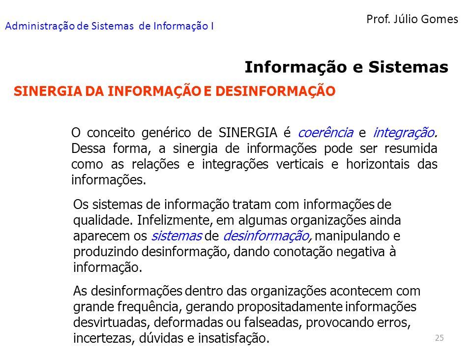Prof. Júlio Gomes Administração de Sistemas de Informação I 25 Informação e Sistemas SINERGIA DA INFORMAÇÃO E DESINFORMAÇÃO O conceito genérico de SIN