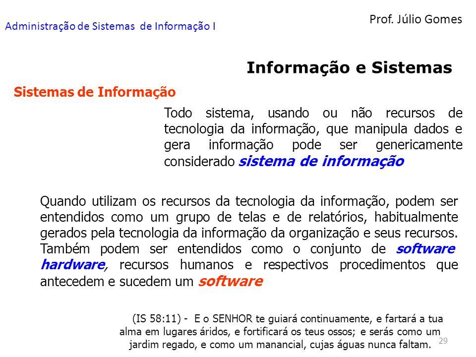 Prof. Júlio Gomes Administração de Sistemas de Informação I 29 Informação e Sistemas Sistemas de Informação Todo sistema, usando ou não recursos de te
