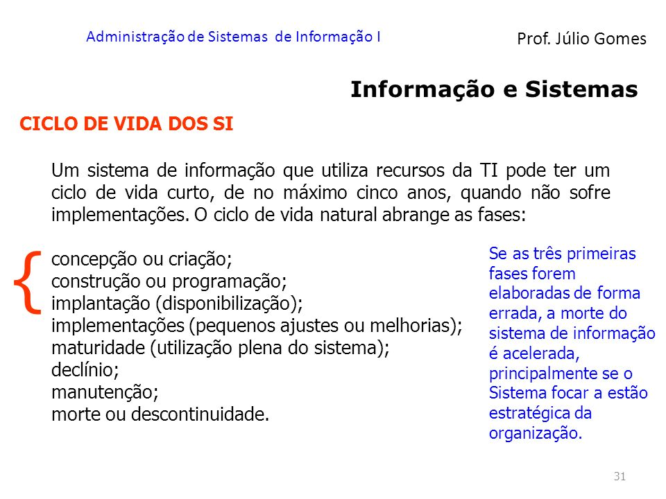 Prof. Júlio Gomes Administração de Sistemas de Informação I 31 Informação e Sistemas CICLO DE VIDA DOS SI Um sistema de informação que utiliza recurso