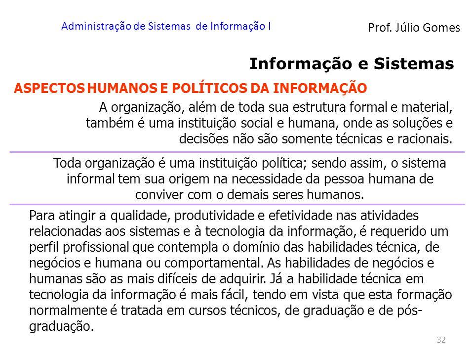 Prof. Júlio Gomes Administração de Sistemas de Informação I 32 Informação e Sistemas ASPECTOS HUMANOS E POLÍTICOS DA INFORMAÇÃO A organização, além de