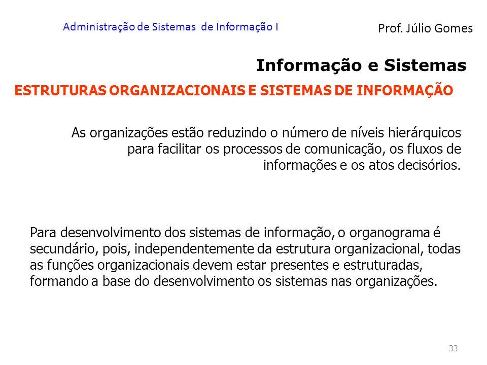 Prof. Júlio Gomes Administração de Sistemas de Informação I 33 Informação e Sistemas ESTRUTURAS ORGANIZACIONAIS E SISTEMAS DE INFORMAÇÃO As organizaçõ