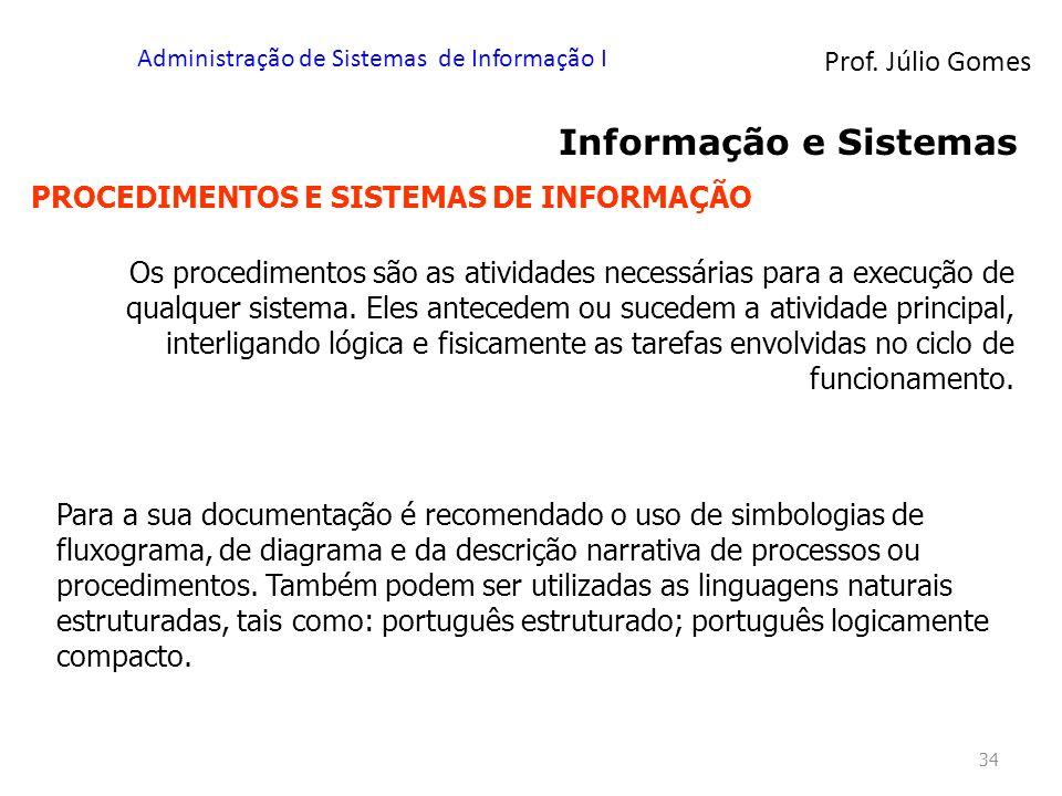 Prof. Júlio Gomes Administração de Sistemas de Informação I 34 Informação e Sistemas PROCEDIMENTOS E SISTEMAS DE INFORMAÇÃO Os procedimentos são as at