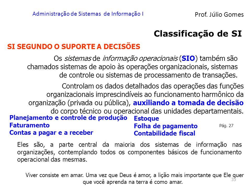 Prof. Júlio Gomes Administração de Sistemas de Informação I 35 Classificação de SI Os sistemas de informação operacionais (SIO) também são chamados si