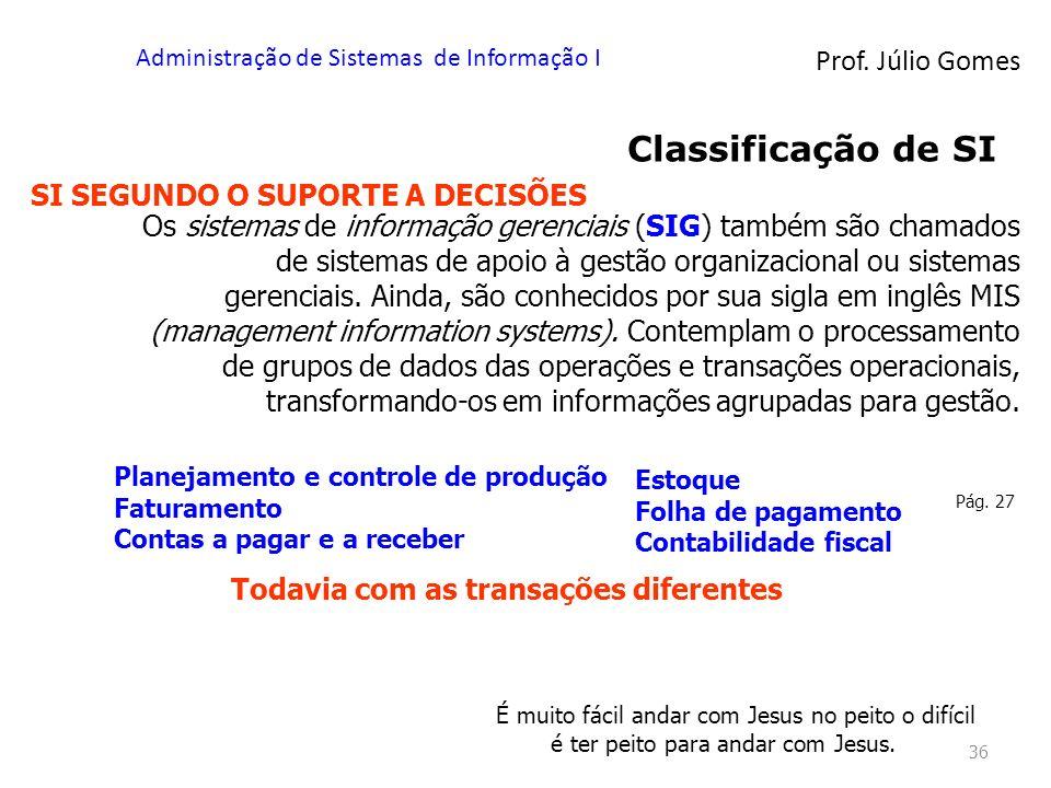 Prof. Júlio Gomes Administração de Sistemas de Informação I 36 Classificação de SI SI SEGUNDO O SUPORTE A DECISÕES Os sistemas de informação gerenciai