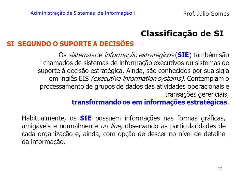 Prof. Júlio Gomes Administração de Sistemas de Informação I 37 Classificação de SI SI SEGUNDO O SUPORTE A DECISÕES Os sistemas de informação estratégi