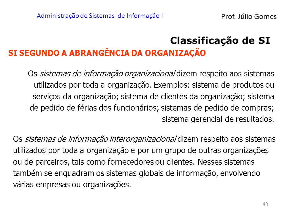 Prof. Júlio Gomes Administração de Sistemas de Informação I 40 Classificação de SI SI SEGUNDO A ABRANGÊNCIA DA ORGANIZAÇÃO Os sistemas de informação o
