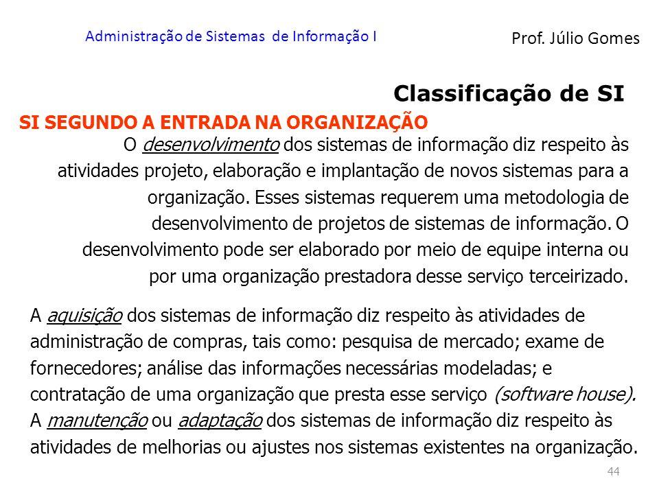 Prof. Júlio Gomes Administração de Sistemas de Informação I 44 Classificação de SI SI SEGUNDO A ENTRADA NA ORGANIZAÇÃO O desenvolvimento dos sistemas