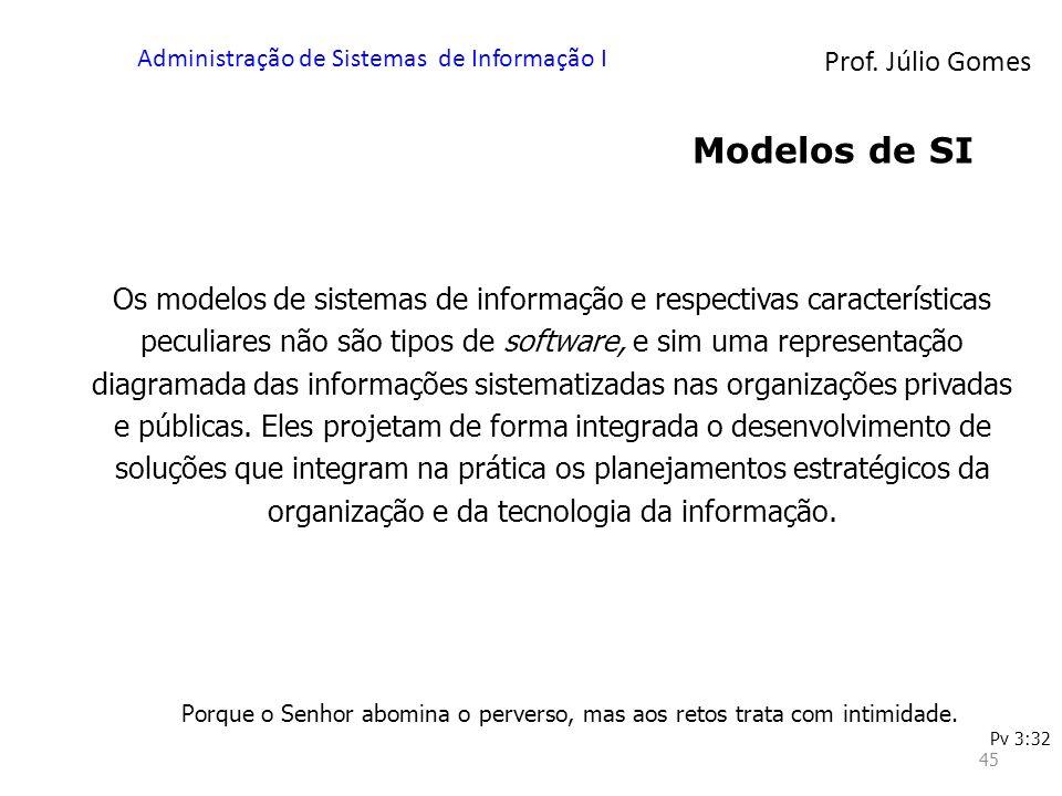 Prof. Júlio Gomes Administração de Sistemas de Informação I 45 Modelos de SI Os modelos de sistemas de informação e respectivas características peculi