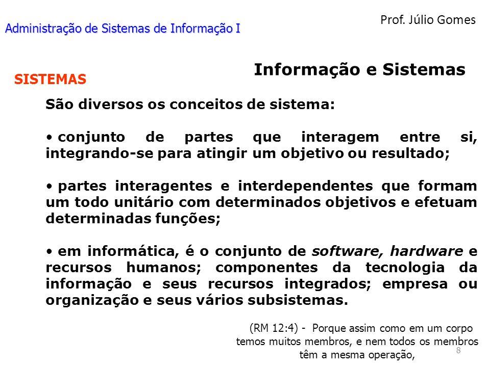 Prof. Júlio Gomes 8 (RM 12:4) - Porque assim como em um corpo temos muitos membros, e nem todos os membros têm a mesma operação, Informação e Sistemas