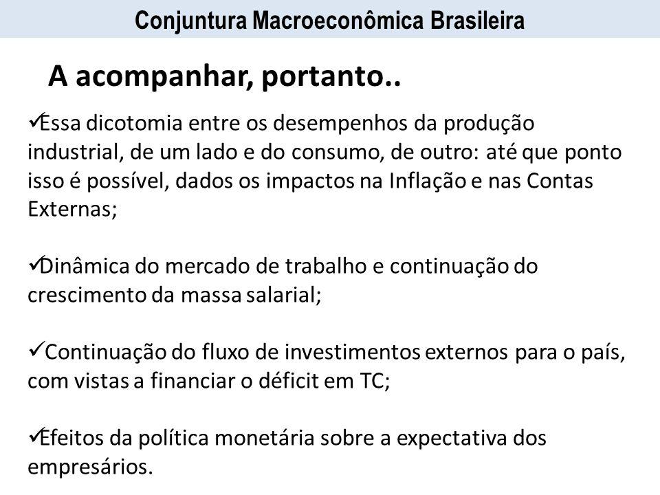 Conjuntura Macroeconômica Brasileira Essa dicotomia entre os desempenhos da produção industrial, de um lado e do consumo, de outro: até que ponto isso