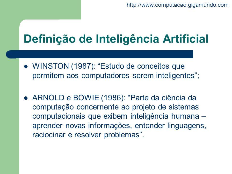 http://www.computacao.gigamundo.com Definição de Inteligência Artificial WINSTON (1987): Estudo de conceitos que permitem aos computadores serem intel