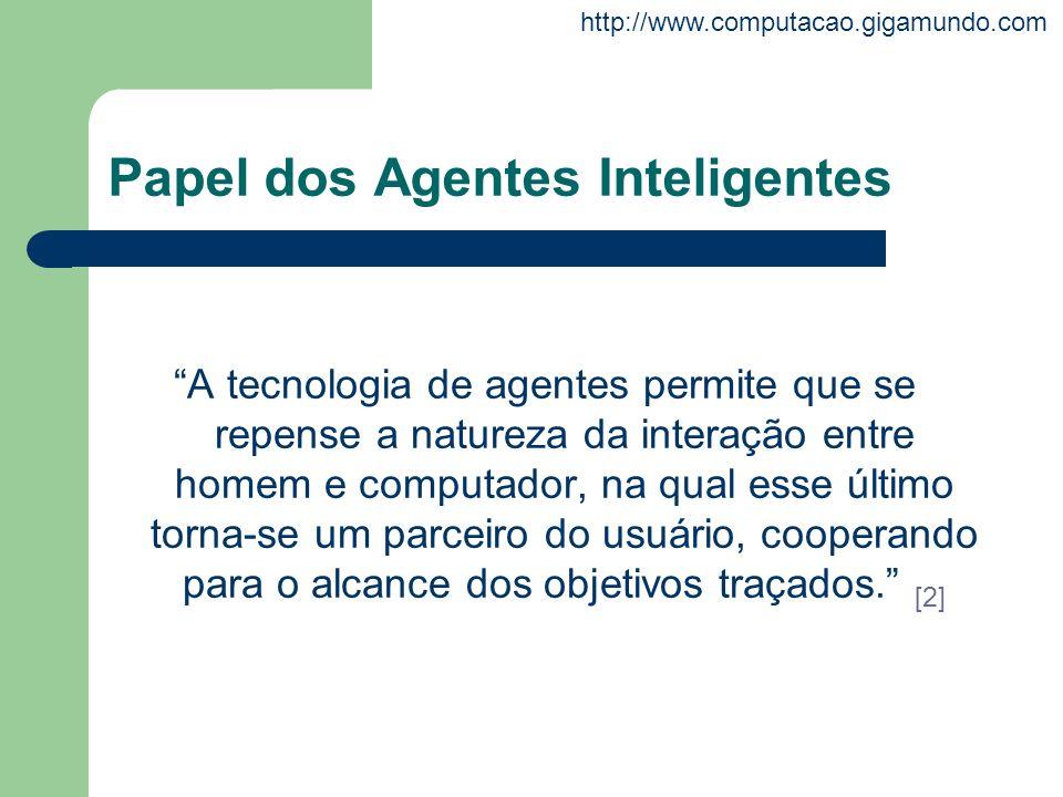 http://www.computacao.gigamundo.com Papel dos Agentes Inteligentes A tecnologia de agentes permite que se repense a natureza da interação entre homem