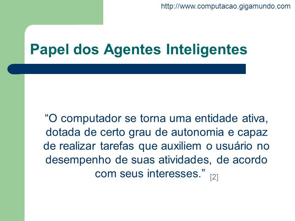http://www.computacao.gigamundo.com Papel dos Agentes Inteligentes O computador se torna uma entidade ativa, dotada de certo grau de autonomia e capaz