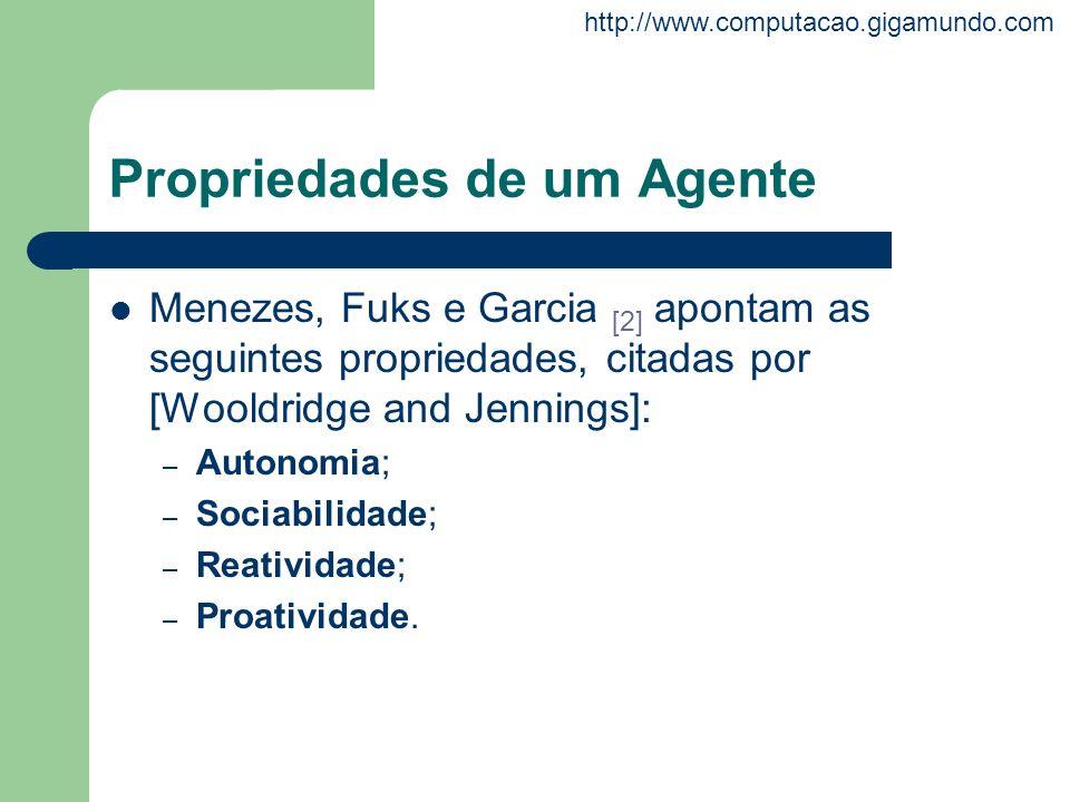 http://www.computacao.gigamundo.com Propriedades de um Agente Menezes, Fuks e Garcia [2] apontam as seguintes propriedades, citadas por [Wooldridge an