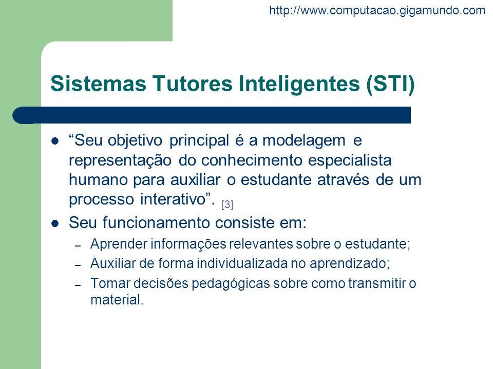 http://www.computacao.gigamundo.com Sistemas Tutores Inteligentes (STI) Seu objetivo principal é a modelagem e representação do conhecimento especiali