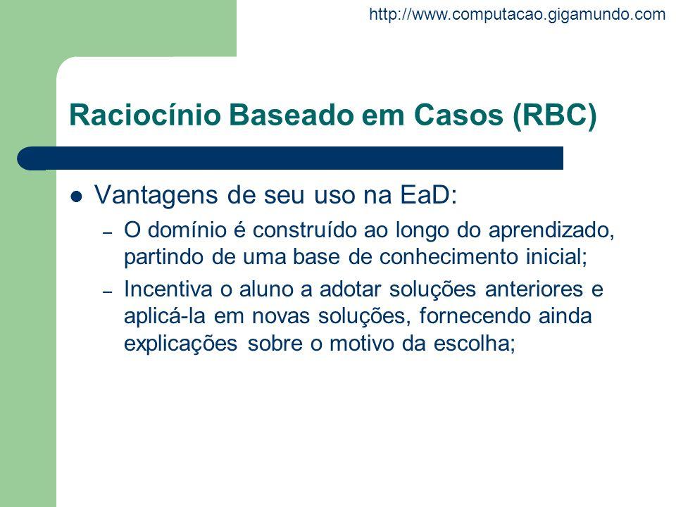 http://www.computacao.gigamundo.com Raciocínio Baseado em Casos (RBC) Vantagens de seu uso na EaD: – O domínio é construído ao longo do aprendizado, p