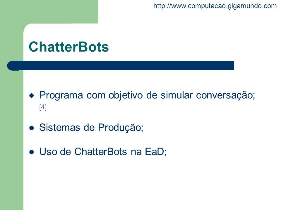 http://www.computacao.gigamundo.com ChatterBots Programa com objetivo de simular conversação; [4] Sistemas de Produção; Uso de ChatterBots na EaD;