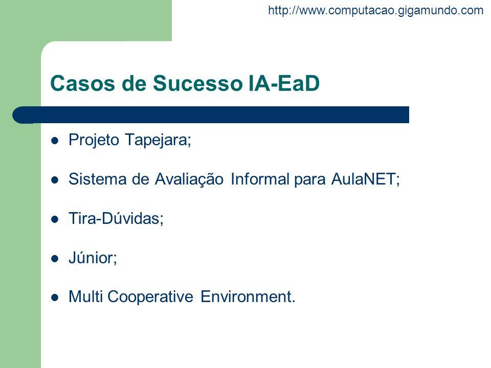 http://www.computacao.gigamundo.com Casos de Sucesso IA-EaD Projeto Tapejara; Sistema de Avaliação Informal para AulaNET; Tira-Dúvidas; Júnior; Multi