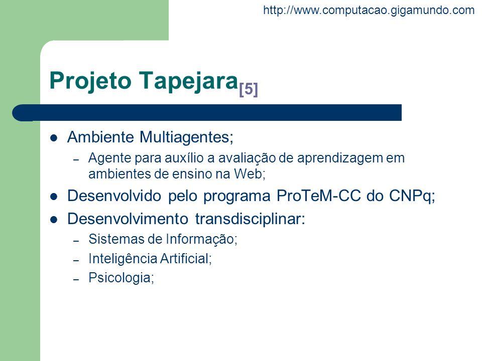 http://www.computacao.gigamundo.com Projeto Tapejara [5] Ambiente Multiagentes; – Agente para auxílio a avaliação de aprendizagem em ambientes de ensi