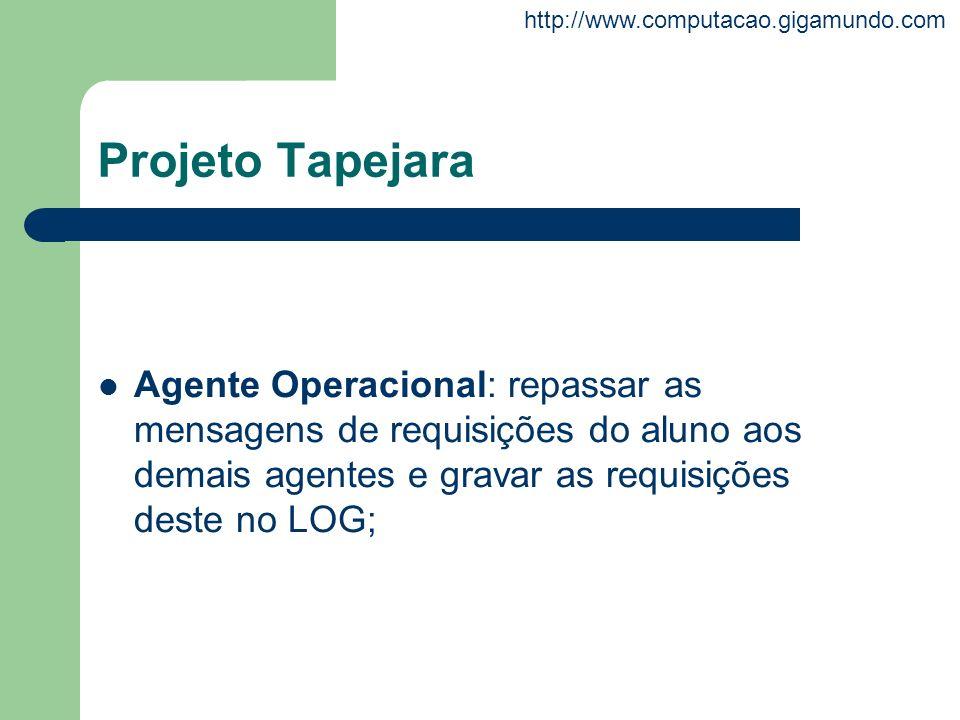 http://www.computacao.gigamundo.com Projeto Tapejara Agente Operacional: repassar as mensagens de requisições do aluno aos demais agentes e gravar as