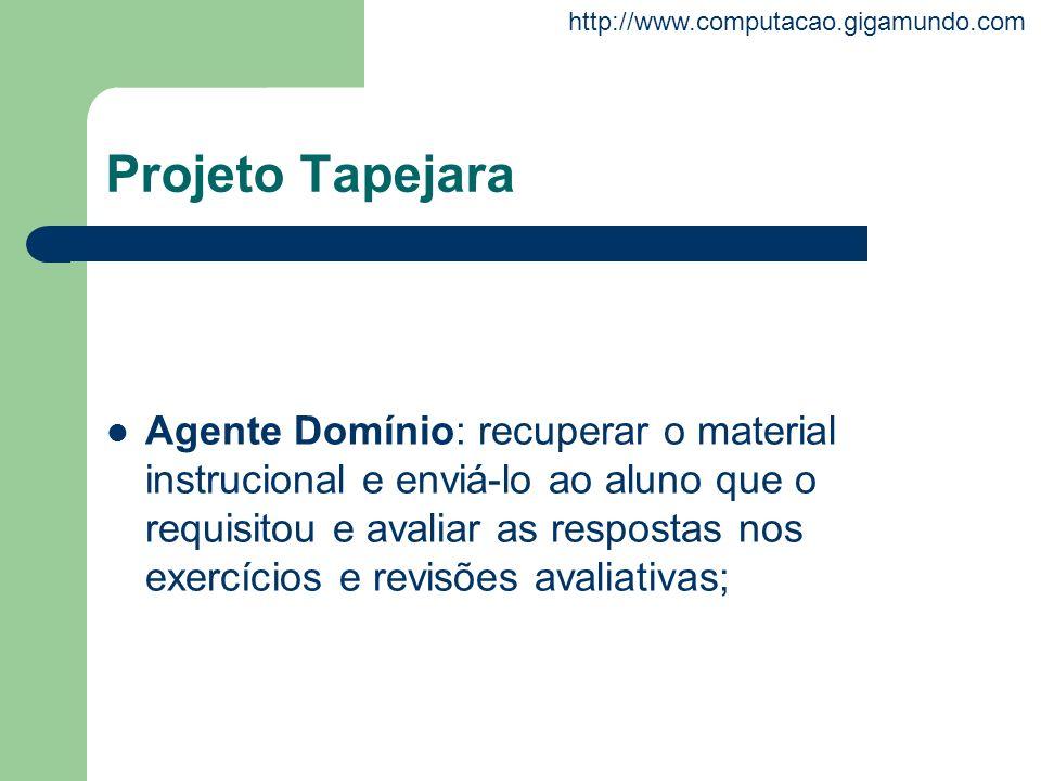 http://www.computacao.gigamundo.com Projeto Tapejara Agente Domínio: recuperar o material instrucional e enviá-lo ao aluno que o requisitou e avaliar
