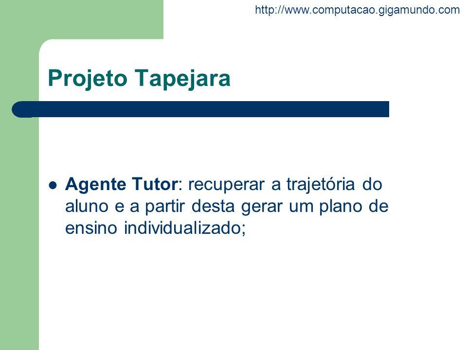 http://www.computacao.gigamundo.com Projeto Tapejara Agente Tutor: recuperar a trajetória do aluno e a partir desta gerar um plano de ensino individua