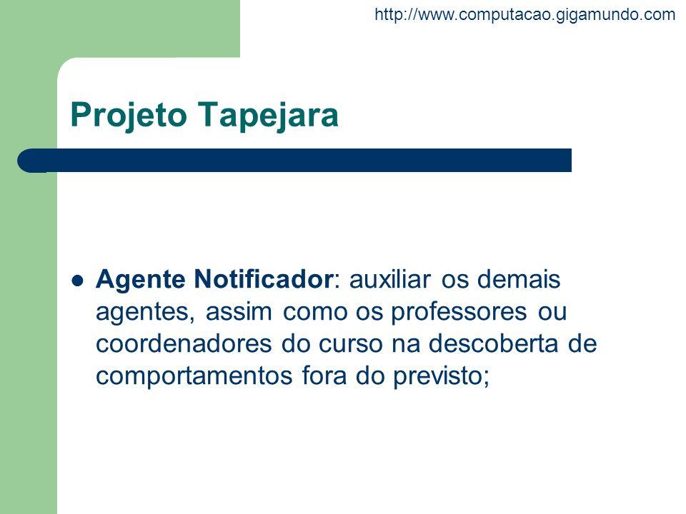 http://www.computacao.gigamundo.com Projeto Tapejara Agente Notificador: auxiliar os demais agentes, assim como os professores ou coordenadores do cur