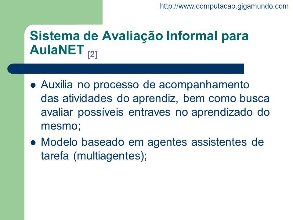 http://www.computacao.gigamundo.com Sistema de Avaliação Informal para AulaNET [2] Auxilia no processo de acompanhamento das atividades do aprendiz, b