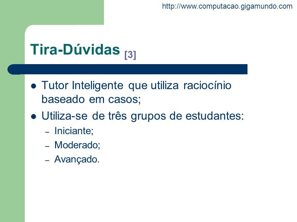 Tira-Dúvidas [3] Tutor Inteligente que utiliza raciocínio baseado em casos; Utiliza-se de três grupos de estudantes: – Iniciante; – Moderado; – Avança