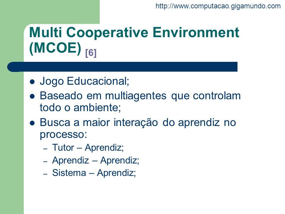 http://www.computacao.gigamundo.com Multi Cooperative Environment (MCOE) [6] Jogo Educacional; Baseado em multiagentes que controlam todo o ambiente;