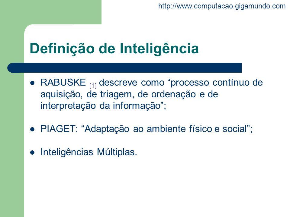 http://www.computacao.gigamundo.com Definição de Inteligência RABUSKE [1] descreve como processo contínuo de aquisição, de triagem, de ordenação e de