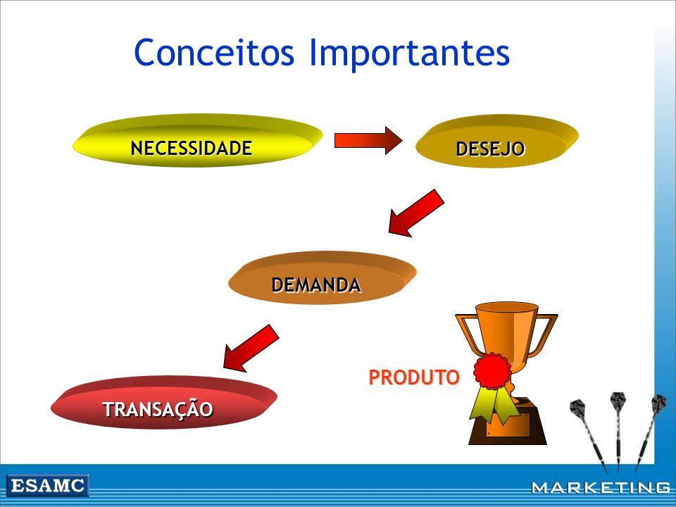 Conceitos Importantes PRODUTO NECESSIDADE DEMANDA DESEJO TRANSAÇÃO