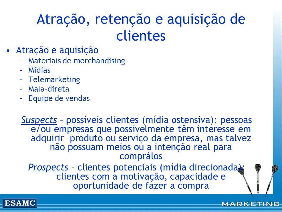 Atração, retenção e aquisição de clientes Atração e aquisição –Materiais de merchandising –Mídias –Telemarketing –Mala-direta –Equipe de vendas Suspec