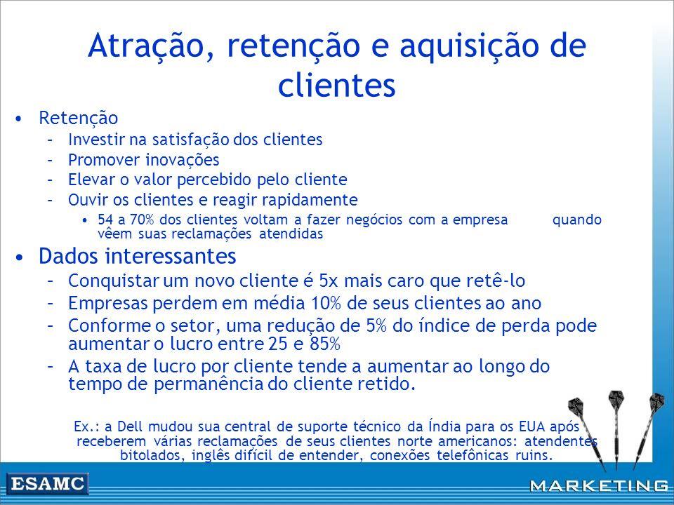Atração, retenção e aquisição de clientes Retenção –Investir na satisfação dos clientes –Promover inovações –Elevar o valor percebido pelo cliente –Ou