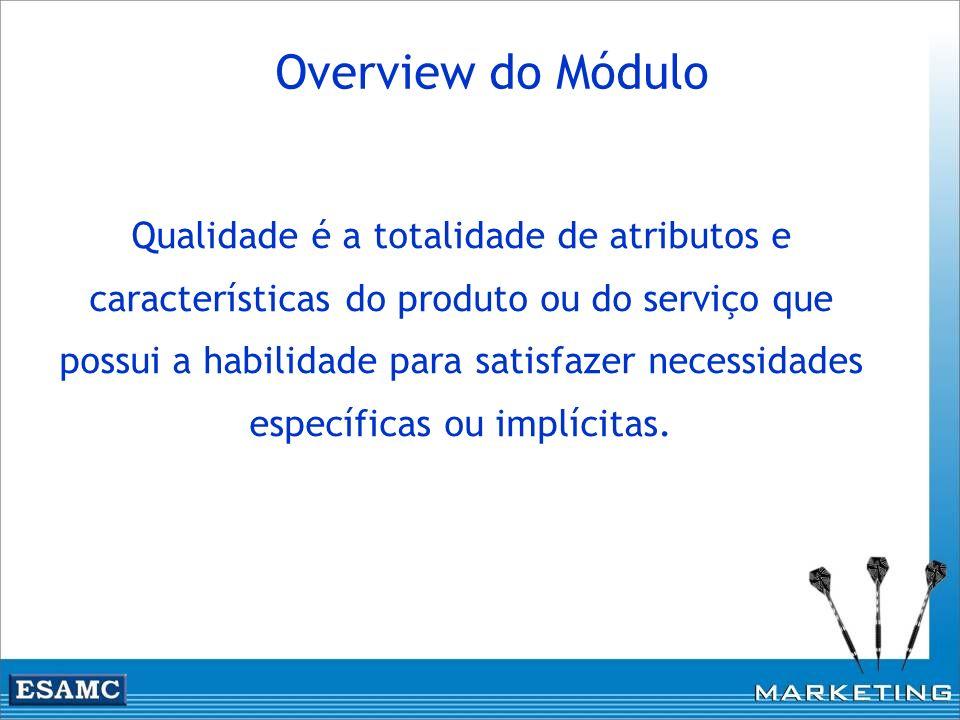 Overview do Módulo Qualidade é a totalidade de atributos e características do produto ou do serviço que possui a habilidade para satisfazer necessidad
