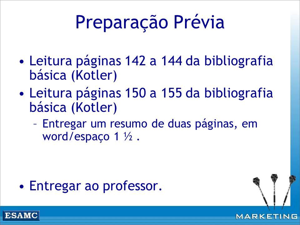 Preparação Prévia Leitura páginas 142 a 144 da bibliografia básica (Kotler) Leitura páginas 150 a 155 da bibliografia básica (Kotler) –Entregar um res