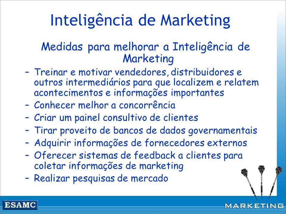 Inteligência de Marketing Medidas para melhorar a Inteligência de Marketing –Treinar e motivar vendedores, distribuidores e outros intermediários para