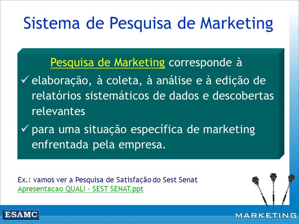 Sistema de Pesquisa de Marketing Pesquisa de Marketing corresponde à elaboração, à coleta, à análise e à edição de relatórios sistemáticos de dados e