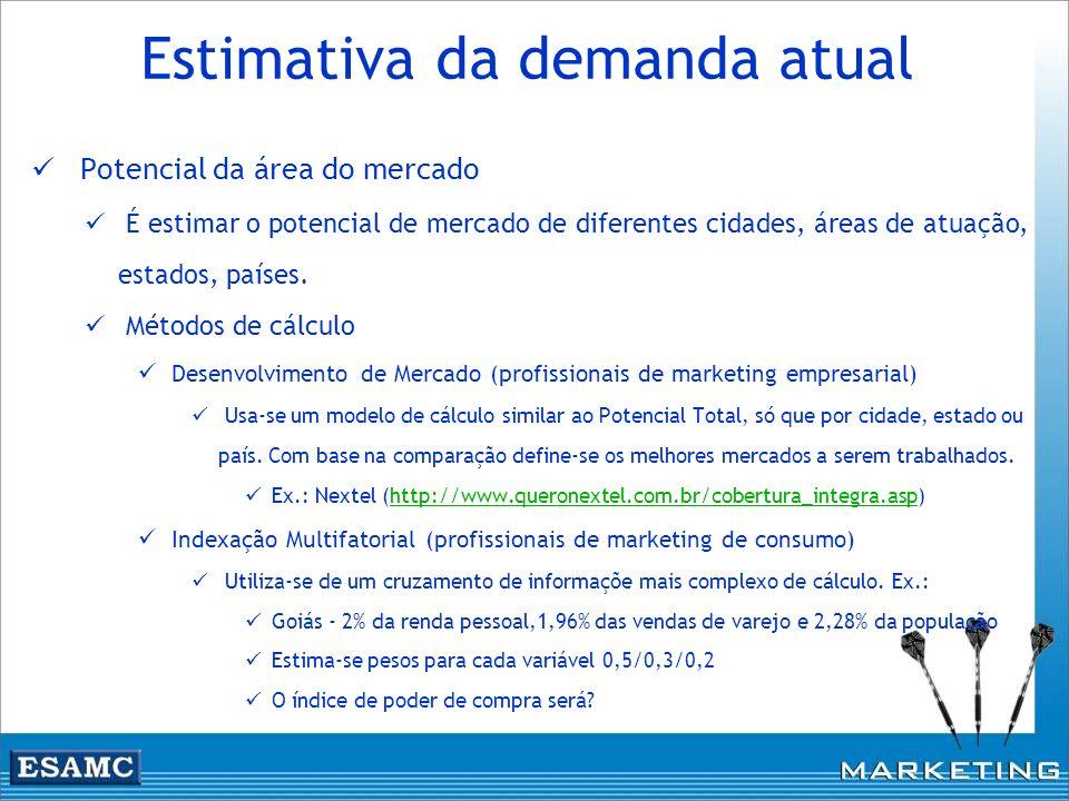Estimativa da demanda atual Potencial da área do mercado É estimar o potencial de mercado de diferentes cidades, áreas de atuação, estados, países. Mé