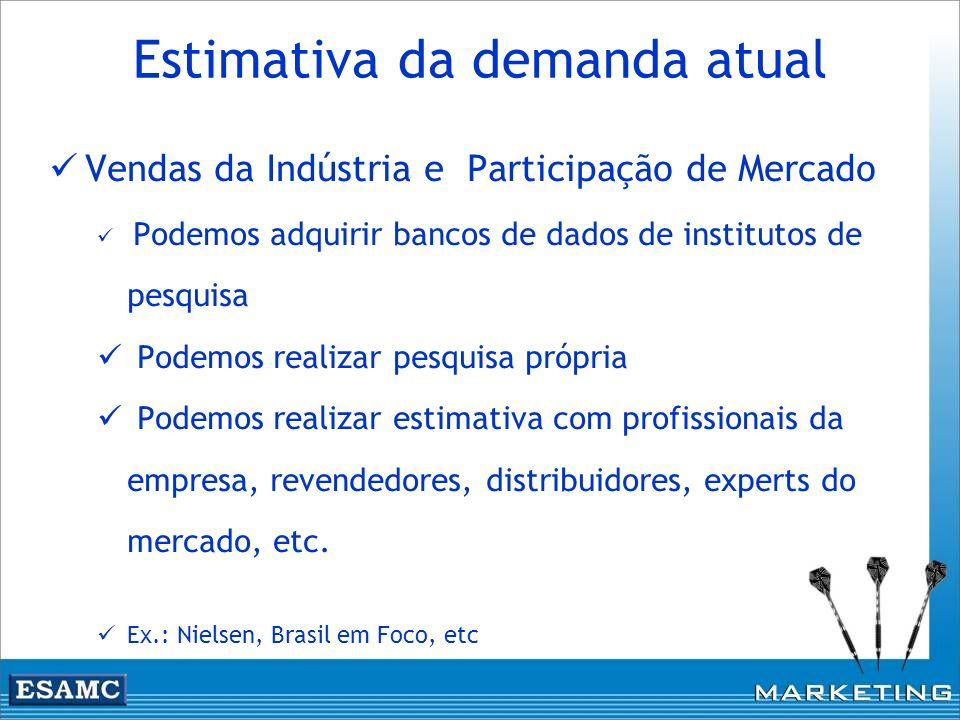 Estimativa da demanda atual Vendas da Indústria e Participação de Mercado Podemos adquirir bancos de dados de institutos de pesquisa Podemos realizar