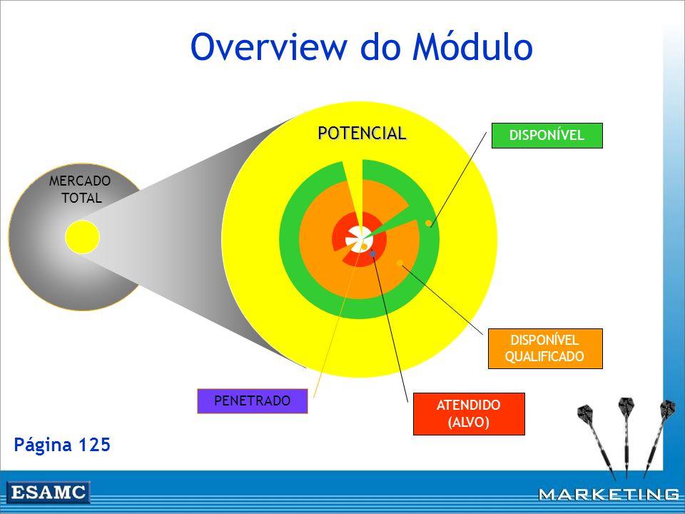 MERCADO TOTAL PENETRADO ATENDIDO (ALVO) DISPONÍVEL QUALIFICADO DISPONÍVEL POTENCIAL Overview do Módulo Página 125