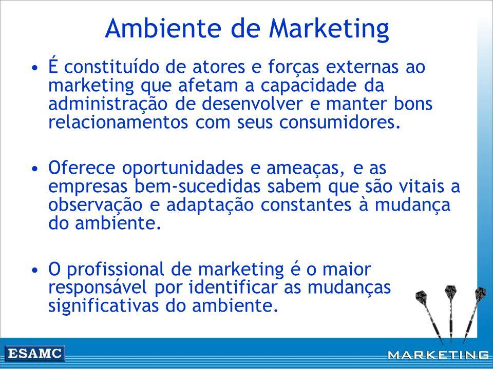 Ambiente de Marketing É constituído de atores e forças externas ao marketing que afetam a capacidade da administração de desenvolver e manter bons rel