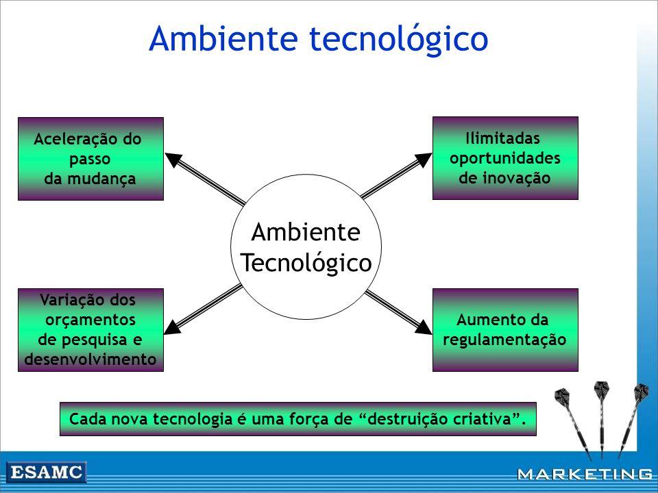 Ambiente tecnológico Ilimitadas oportunidades de inovação Aumento da regulamentação Aceleração do passo da mudança Variação dos orçamentos de pesquisa