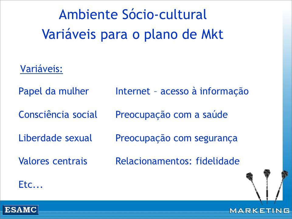 Variáveis: Ambiente Sócio-cultural Variáveis para o plano de Mkt Internet – acesso à informação Preocupação com a saúde Preocupação com segurança Rela