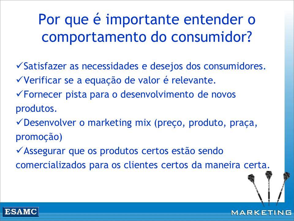 Por que é importante entender o comportamento do consumidor? Satisfazer as necessidades e desejos dos consumidores. Verificar se a equação de valor é