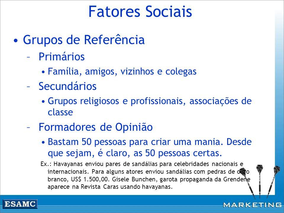 Fatores Sociais Grupos de Referência – Primários Família, amigos, vizinhos e colegas – Secundários Grupos religiosos e profissionais, associações de c