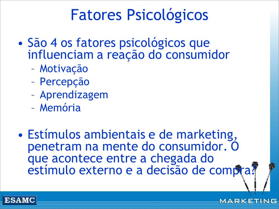 Fatores Psicológicos São 4 os fatores psicológicos que influenciam a reação do consumidor –Motivação –Percepção –Aprendizagem –Memória Estímulos ambie