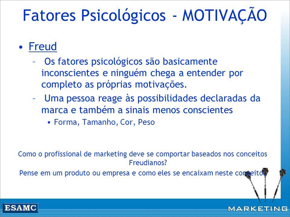 Fatores Psicológicos - MOTIVAÇÃO Freud – Os fatores psicológicos são basicamente inconscientes e ninguém chega a entender por completo as próprias mot