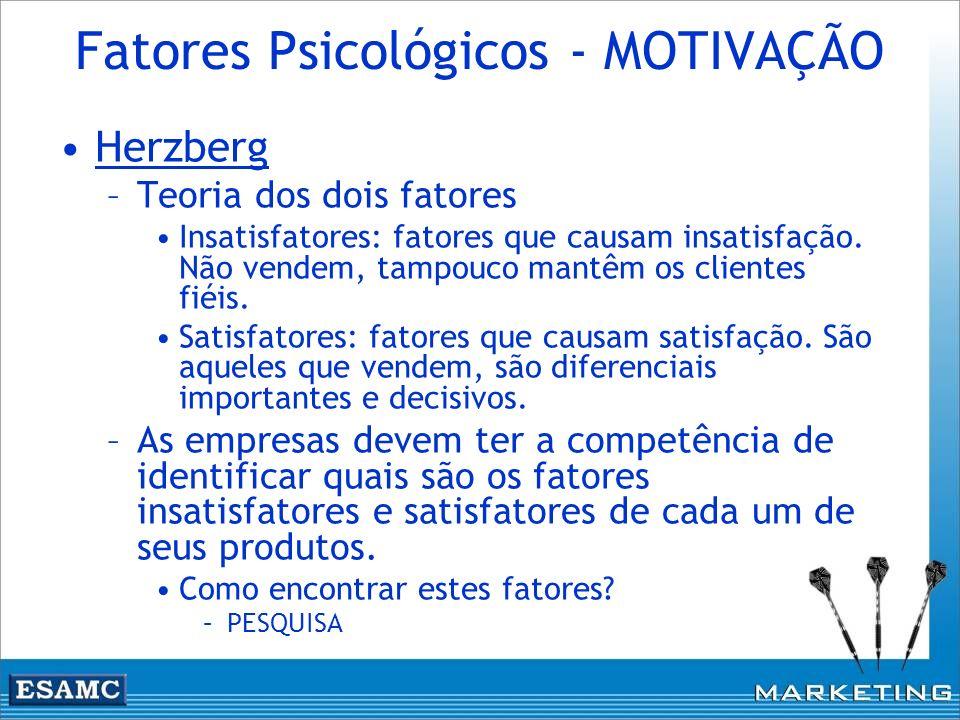 Fatores Psicológicos - MOTIVAÇÃO Herzberg –Teoria dos dois fatores Insatisfatores: fatores que causam insatisfação. Não vendem, tampouco mantêm os cli