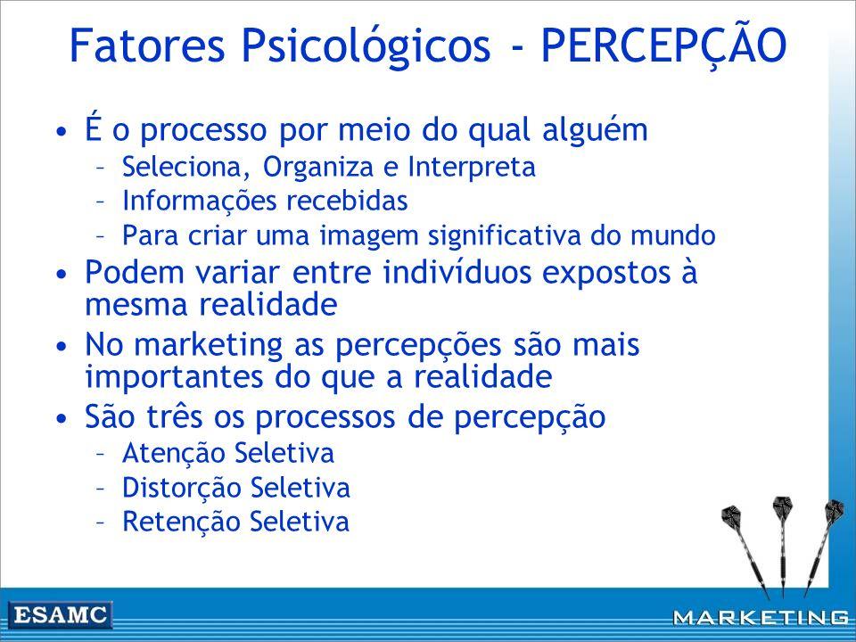 Fatores Psicológicos - PERCEPÇÃO É o processo por meio do qual alguém –Seleciona, Organiza e Interpreta –Informações recebidas –Para criar uma imagem